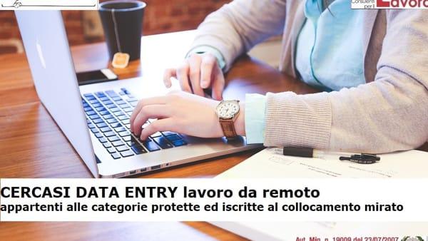 Offerta di lavoro data entry categoria protetta 68/99