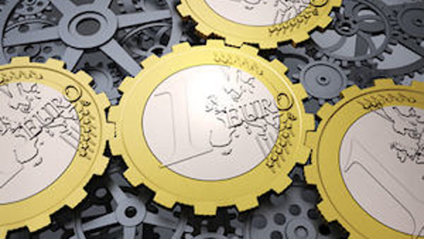 Euro coin gears and cog wheels - european financial system