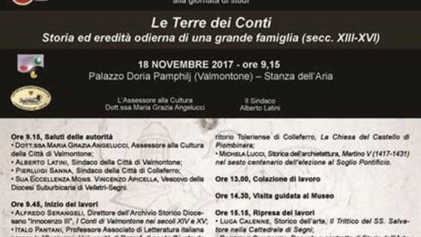 """Valmontone, convegno """"Le Terre dei Conti. Storia ed eredità odierna di una grande famiglia"""""""
