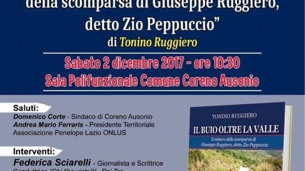 """Coreno Ausonio, presentazione del libro """"Il buio oltre la valle"""" di Tonino Ruggiero"""