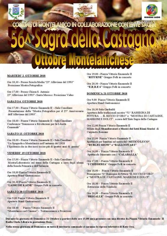 Montelanico, sagra delle castagne Eventi a Frosinone